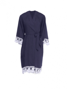 Navy Lace Bridesmaid Robe